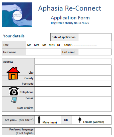 A screenshot of part of our application form to access our services - requires your name, address and contact details, and some basic information about your