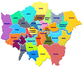 a map showing the london boroughs