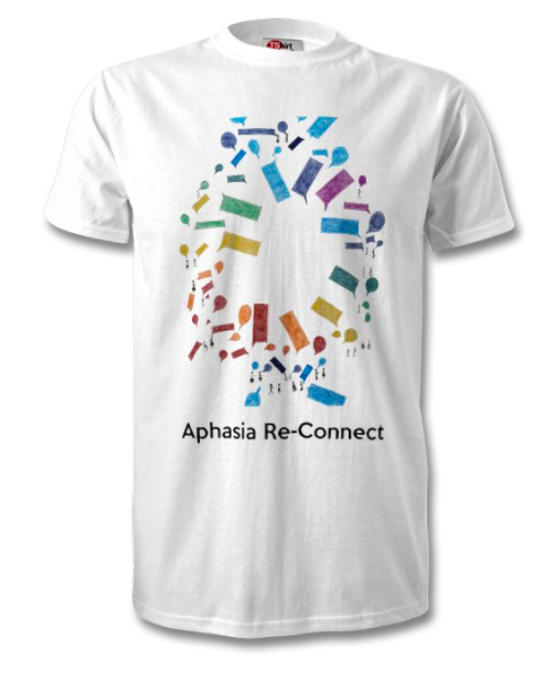 t-shirt designed by Afsana Elanko - the artwork is a rainbow-coloured circle of speech bubbles, with small stick figures dotted around the margins, either alone or in conversation with each other