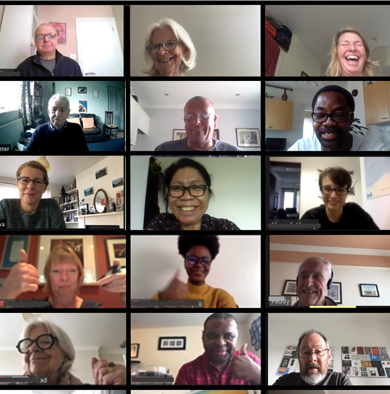 a screenshot of one of our virtual groups on Zoom - 36 people on their screens