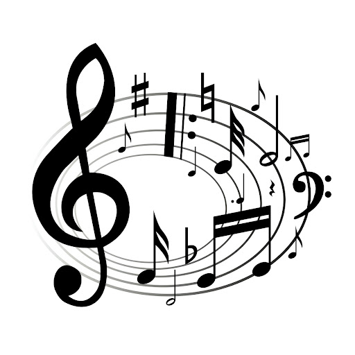 music stave in a circle, with music notes and symbols