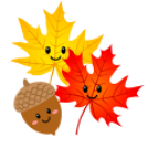 two smiling autumn leaves (one red and one yellow) and one smiling acorn
